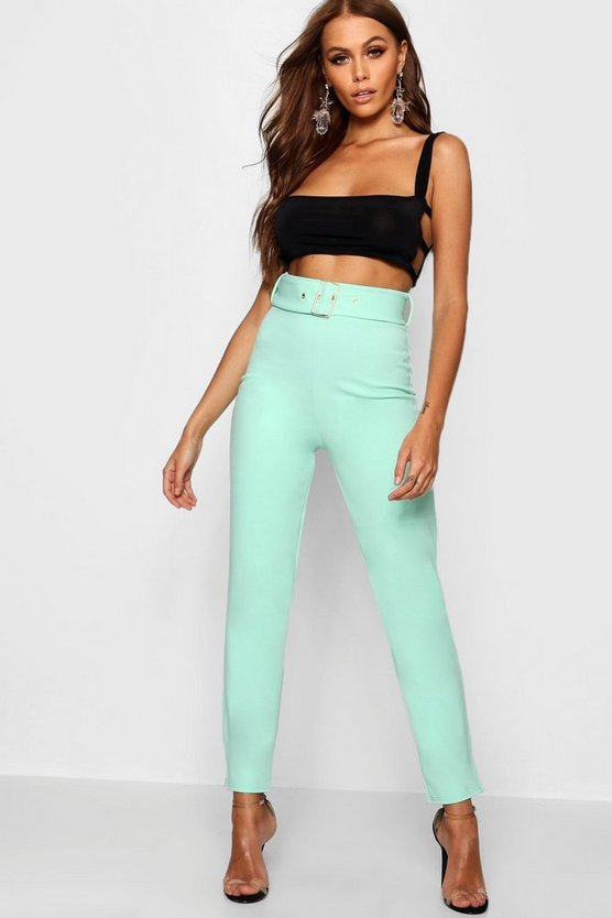 Belted High Waisted Cigarette Trousers