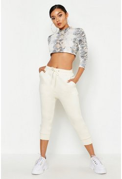 Womens Ecru Cropped Basic Jogger