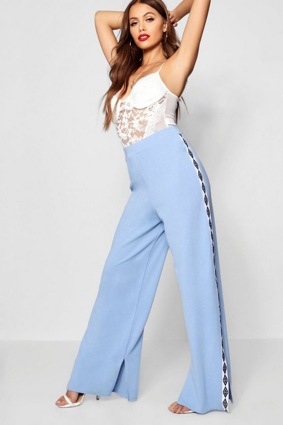 Sports Tape Wide Leg Sweat Pants