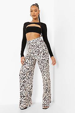 Leopard Print Slinky Wide Leg Pants