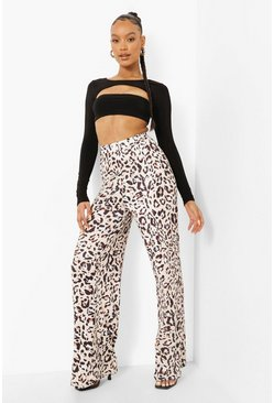 Womens Chocolate High Waist Leopard Slinky Wide Leg Trouser