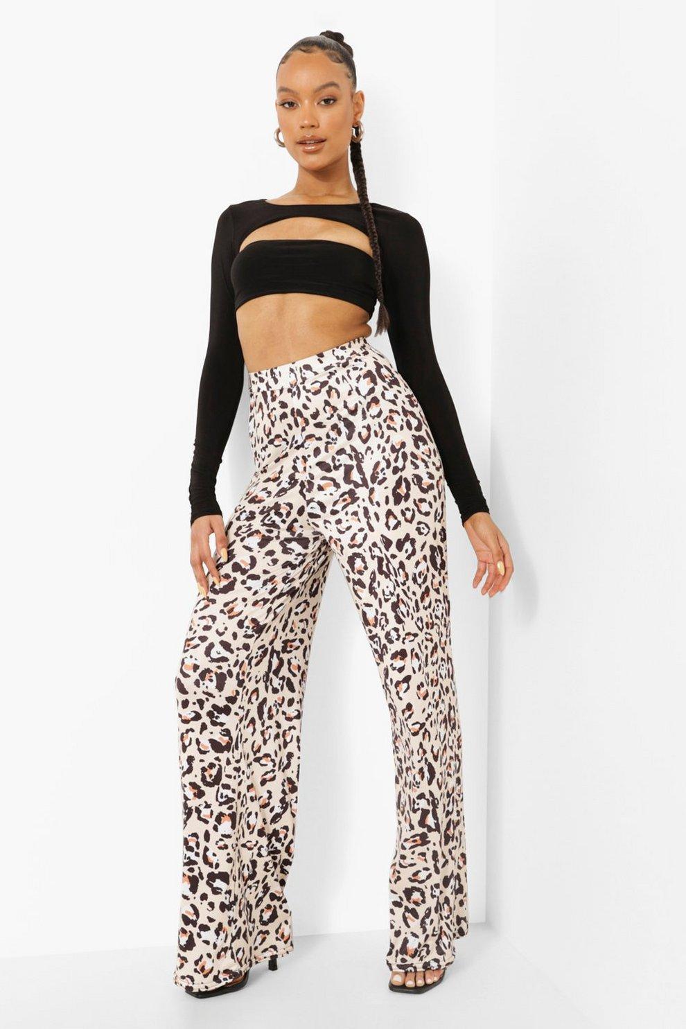 cb4f3458a3bc Womens Chocolate Leopard Print Slinky Wide Leg Pants