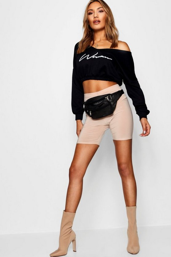 Womens Black Woman Slogan Rouched Sweat Crop