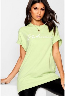 T-Shirt mit pastellfarbenem Woman Slogan, Lime, Damen