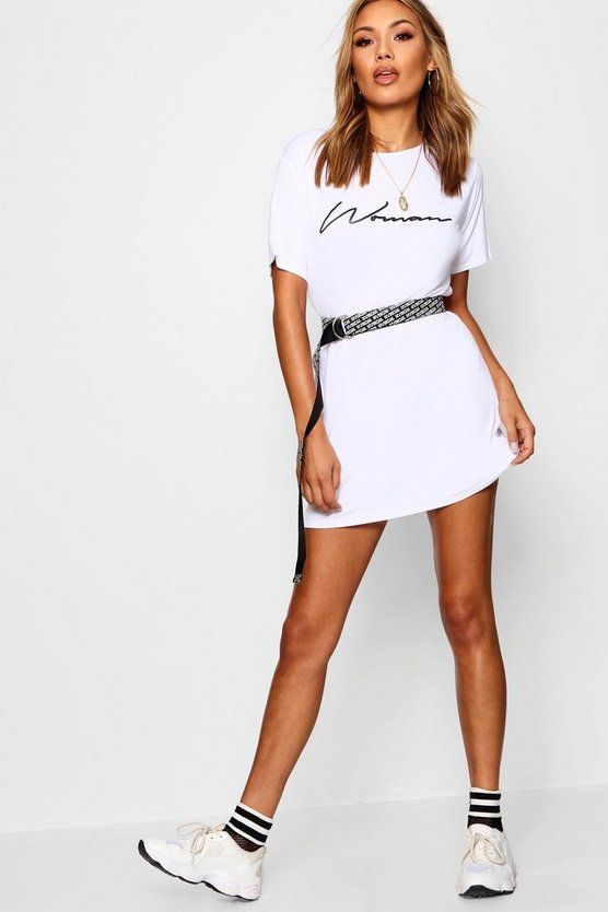 White Woman Slogan T-Shirt Dress