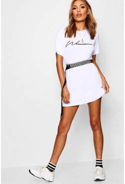 Womens White Woman Slogan T-Shirt Dress
