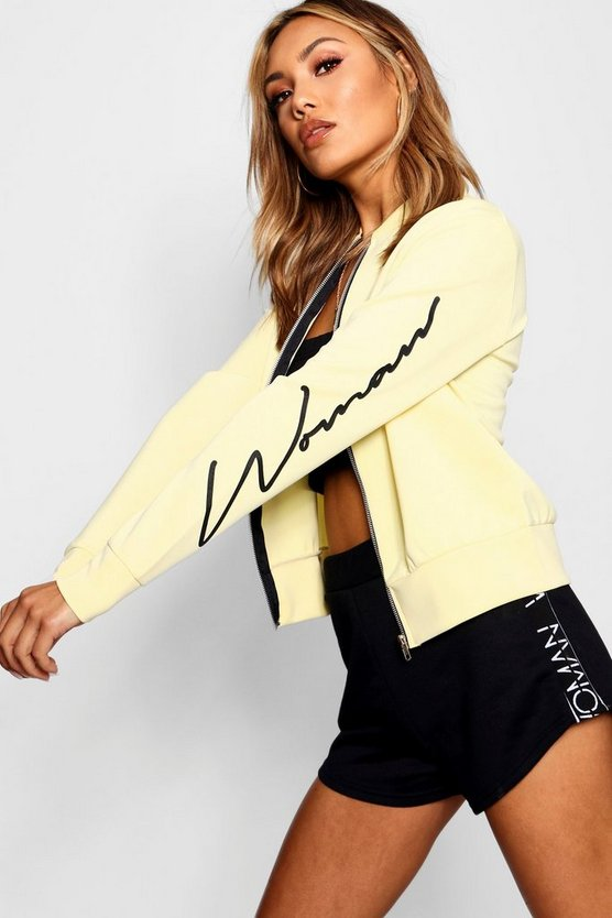 Woman Sleeve Slogan Scuba Bomber Jacket