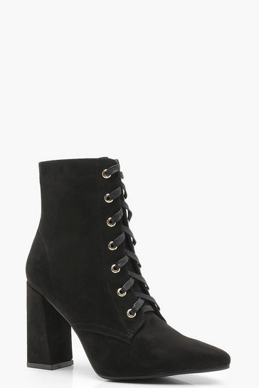 Womens Black Lace Up Pointed Toe Ankle Shoe Boots