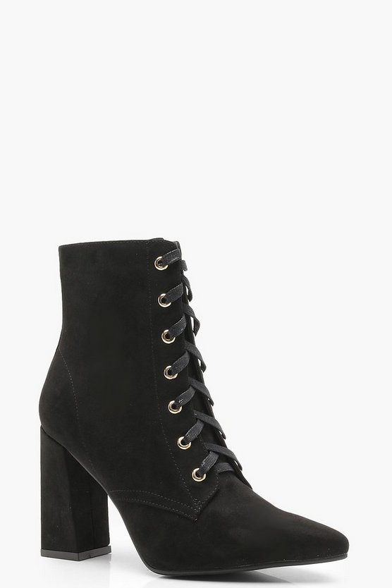 Lace Up Pointed Toe Ankle Shoe Boots