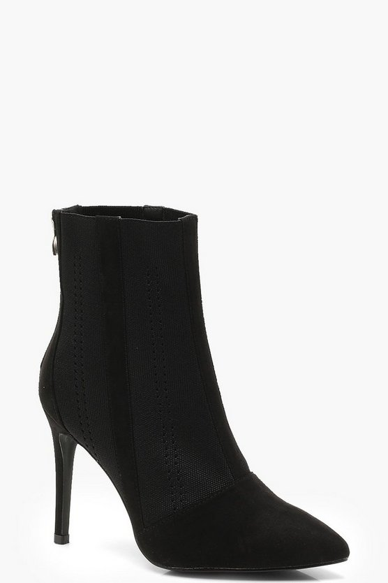 Pointed Toe Knitted Sock Boots