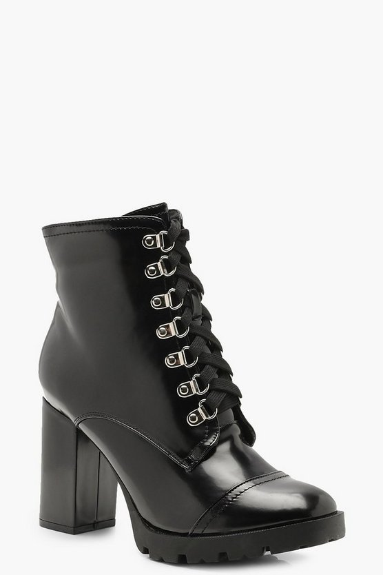 Black Fleck Lace Heeled Hiker Boots