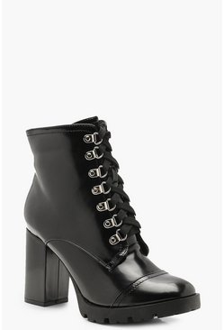Dam Black Fleck Lace Heeled Hiker Boots