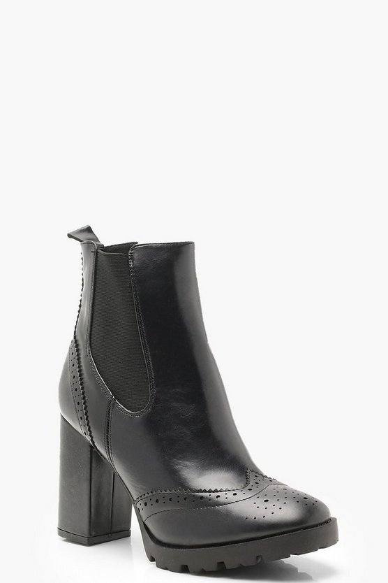 Womens Black Punch Work Platform Cleated Chelsea Boots