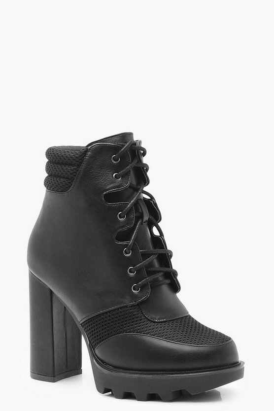 Contrast Lace Up Cleated Hiker Boots