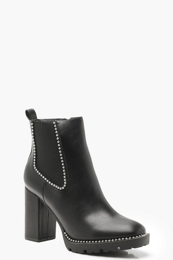 Stud Trim Cleated Heeled Chelsea Boots