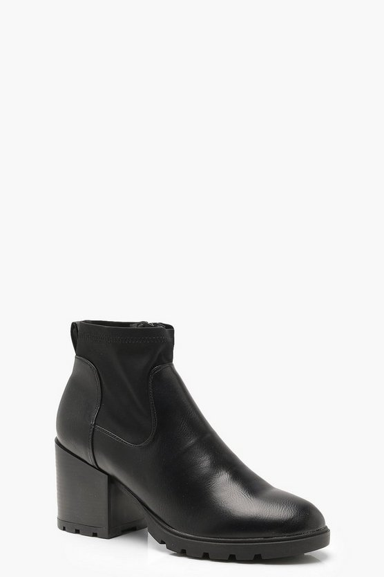 Contrast Gusset Chunky Ankle Shoe Boots