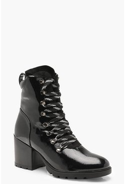 Black High Patent Chunky Hiker Boots