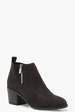 Gathered Gusset Zip Trim Ankle Shoe Boots