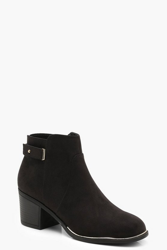 Metallic Trim Ankle Shoe Boots