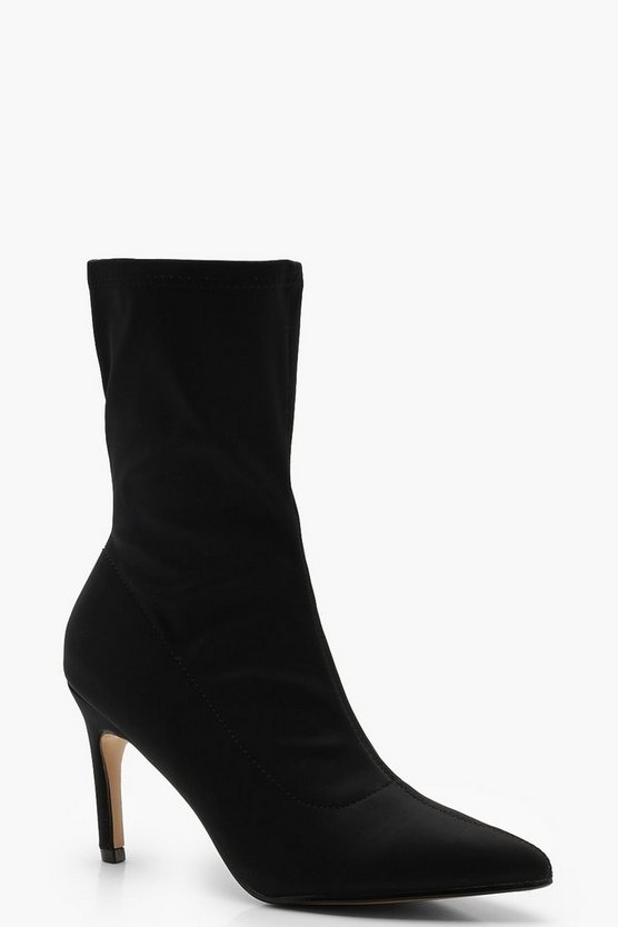 Womens Black Stretch Low Heel Pointed Sock Boots