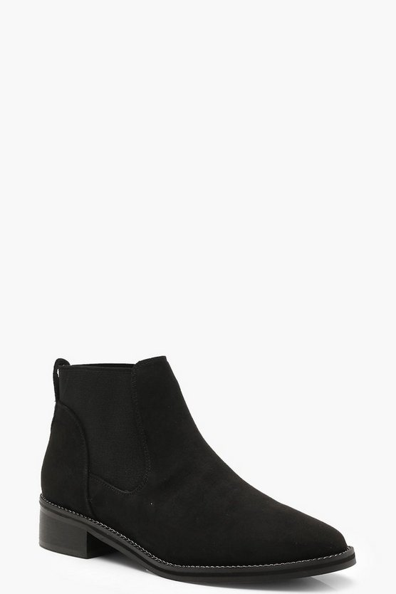 Womens Black Chain Trim Chelsea Boots