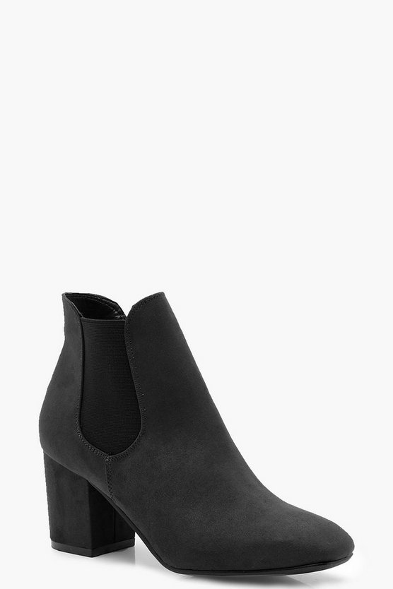 Womens Black Block Heel Chelsea Ankle Boots