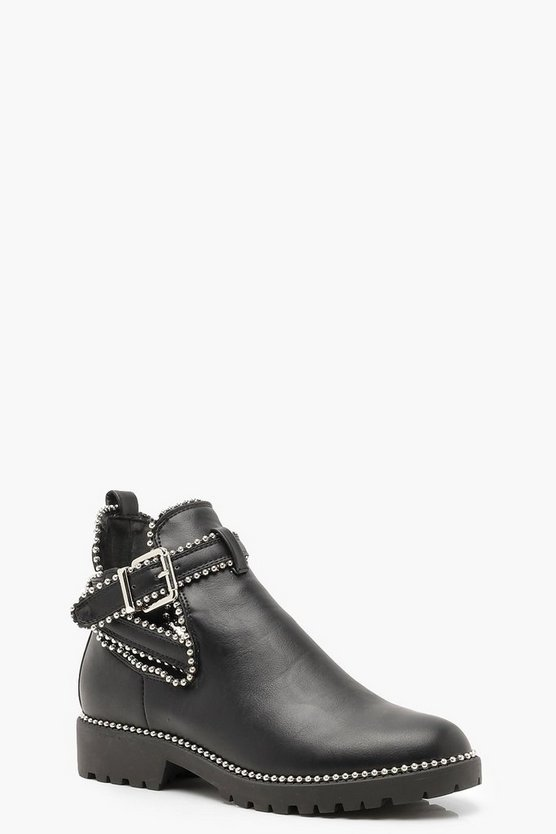Stud Trim Chelsea Cut Work Chunky Boots