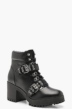 Double Strap Lace Up Chunky Hiker Boots