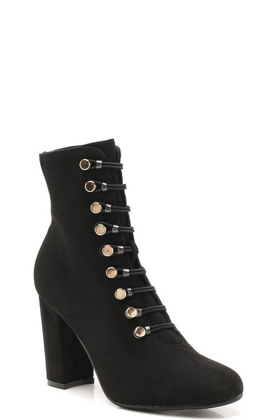 Button Trim Block Heel Ankle Shoe Boots