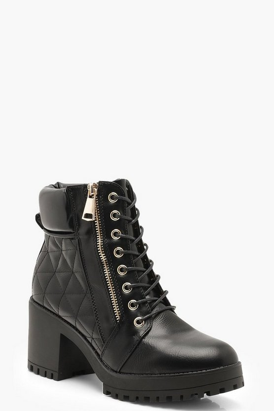 Womens Black Quilted Zip and Lace Up Hiker Boots