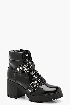 Patent Double Strap Lace Up Chunky Hiker Boots