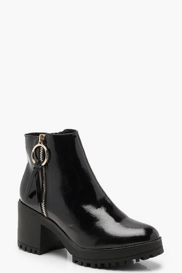 Black O Ring Zip Trim Patent Cleated Ankle Shoe Boots