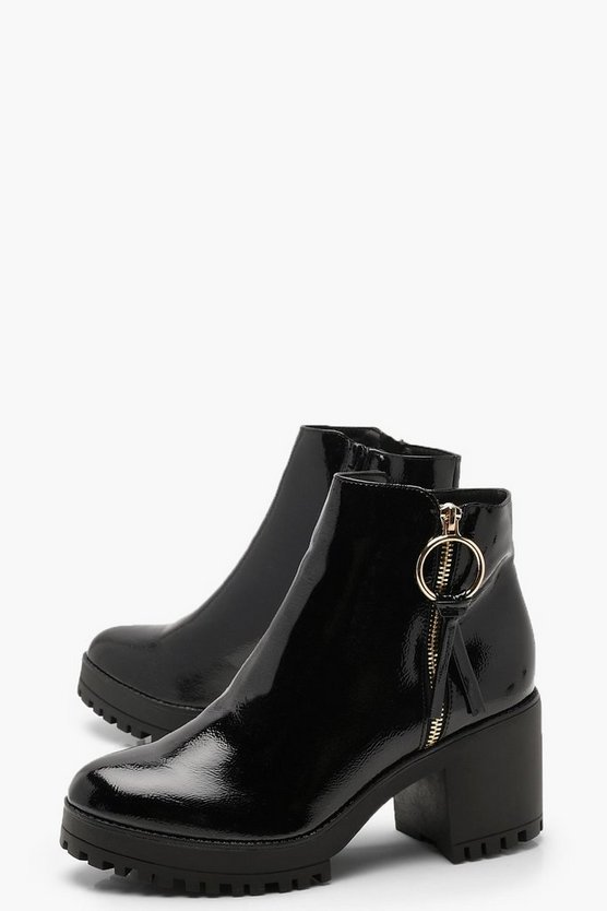 O Ring Zip Trim Patent Cleated Ankle Shoe Boots