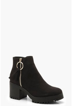 Dam Black O Ring Zip Trim Cleated Ankle Shoe Boots