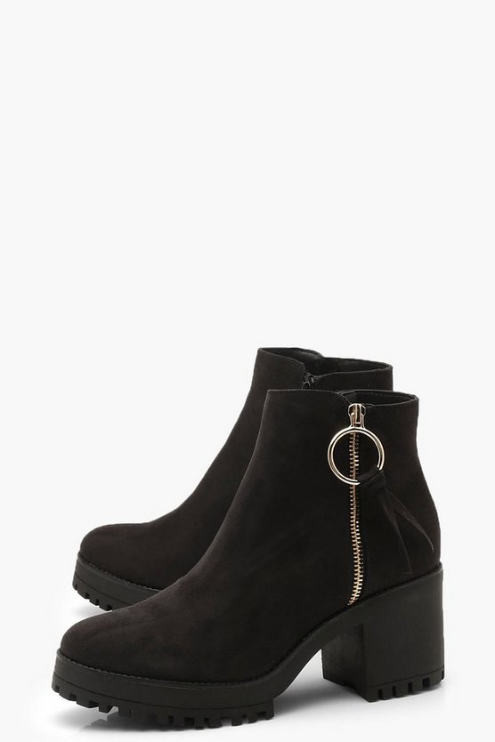 O Ring Zip Trim Cleated Ankle Shoe Boots
