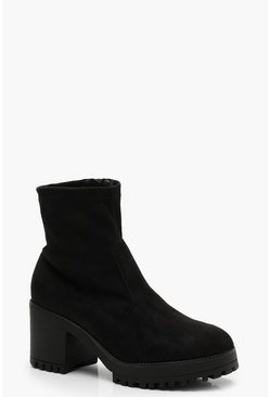 Womens Black Cleated Ankle Sock Boots