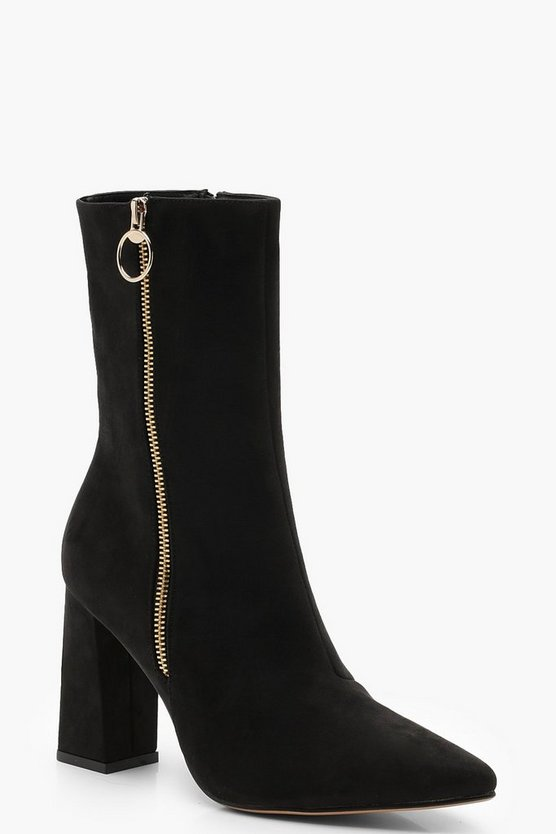 Zip Trim Block Heel Shoe Boots