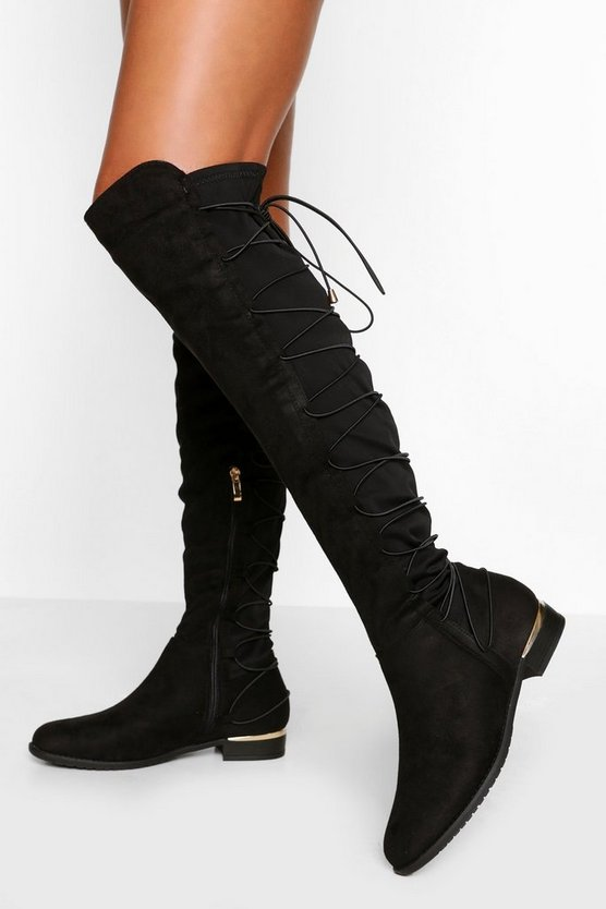 Womens Black Bungee Lace Back Knee High Boots