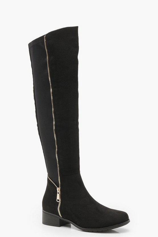 Womens Black Stretch Back Zip Detail Flat Knee High Boots
