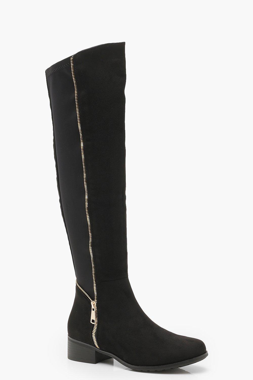 elegantes und robustes Paket offizieller Shop Steckdose online Flache kniehohe Stiefel mit Stretchmaterial und Reißverschluss hinten |  Boohoo