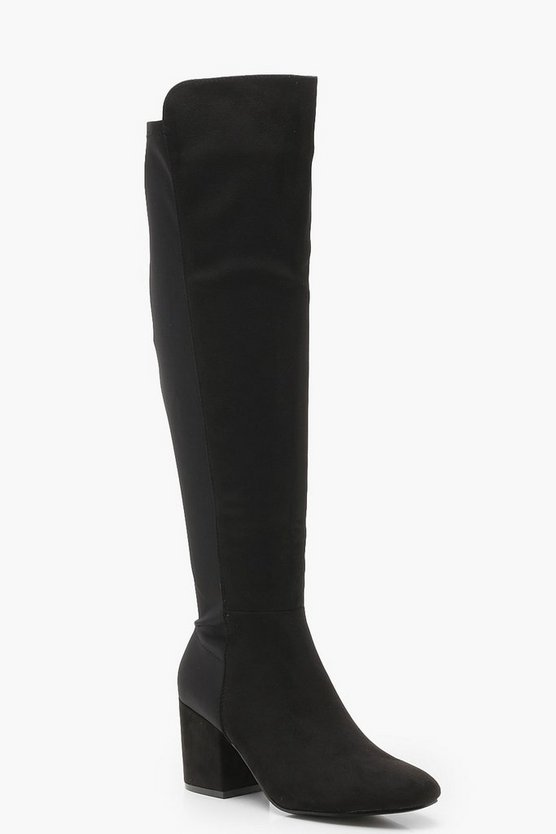 Thigh High Stretch Back Block Heel Boots
