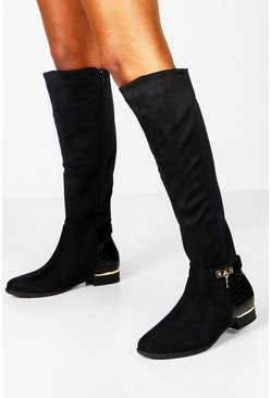 Womens Black Croc Panel Stretch Back Flat Knee High Boots