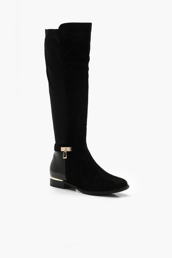 Croc Panel Stretch Back Flat Knee High Boots
