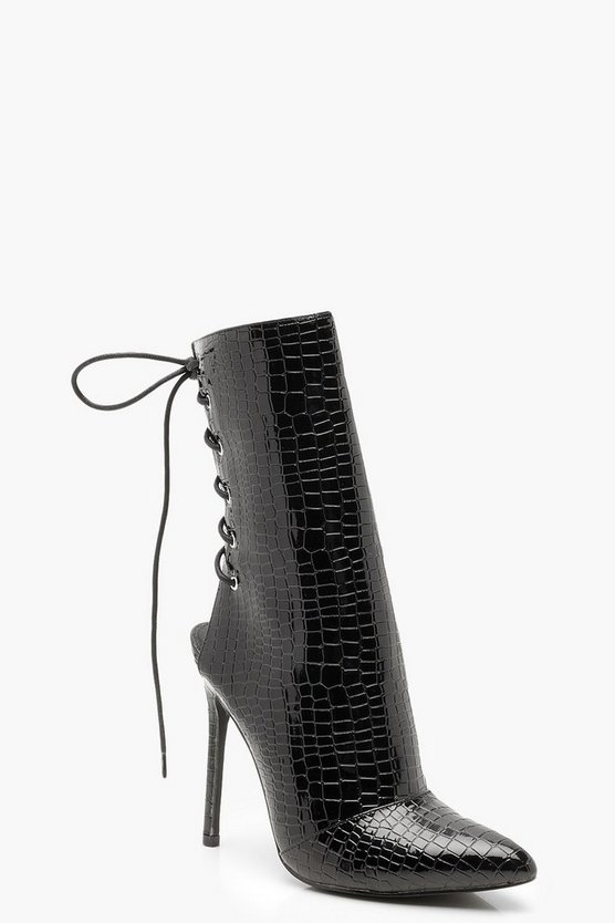 Patent Croc Effect Lace Up Back Sock Boots