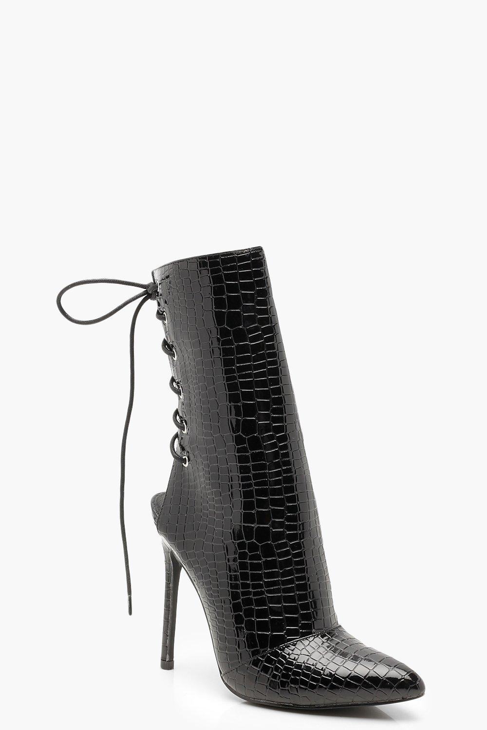 bbbe1ded33a Patent Croc Effect Lace Up Back Sock Boots | Boohoo