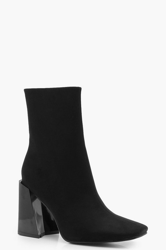 Womens Black Contrast Flared Heel Sock Boots
