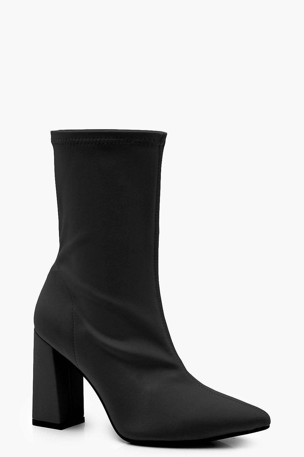4ad638b9266d Womens Black Stretch Pointed Toe Block Heel Sock Boots. Hover to zoom