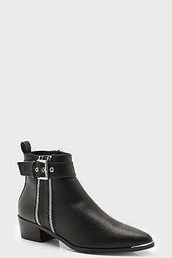 Double Zip Chelsea Ankle Boots