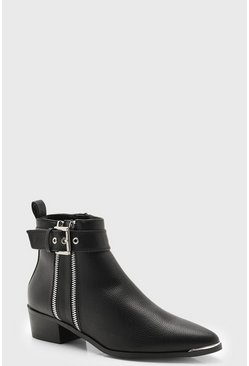 Womens Black Double Zip Chelsea Ankle Boots