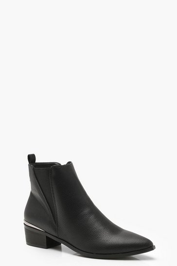 Black Pointed Toe Metallic Trim Chelsea Boots